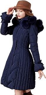 Artka Women's Detachable Fox Fur Hoodie Long Down Jacket with Pompoms Empire Waist Winter Parka Coat