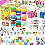 Theefun Slime Kit, Slime 108PCS, 24 Colores Slime para niñas niños, Fabrica de Slime con Polvos Brillantes, Bolas de Espuma, Regalo de cumpleaños, el día del niño, Día de los Tres Reyes, Navidad