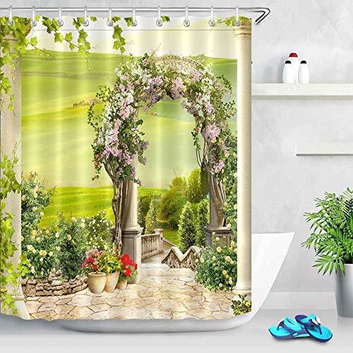 N / A Fleur et Maison Rue Gongshi Rue numérique Paysage Rideau de Douche Baignoire décoration Salle de Bain Rideau décoration de la Maison imperméable et Anti-moisissure Rideau de Douche A6 180x180cm