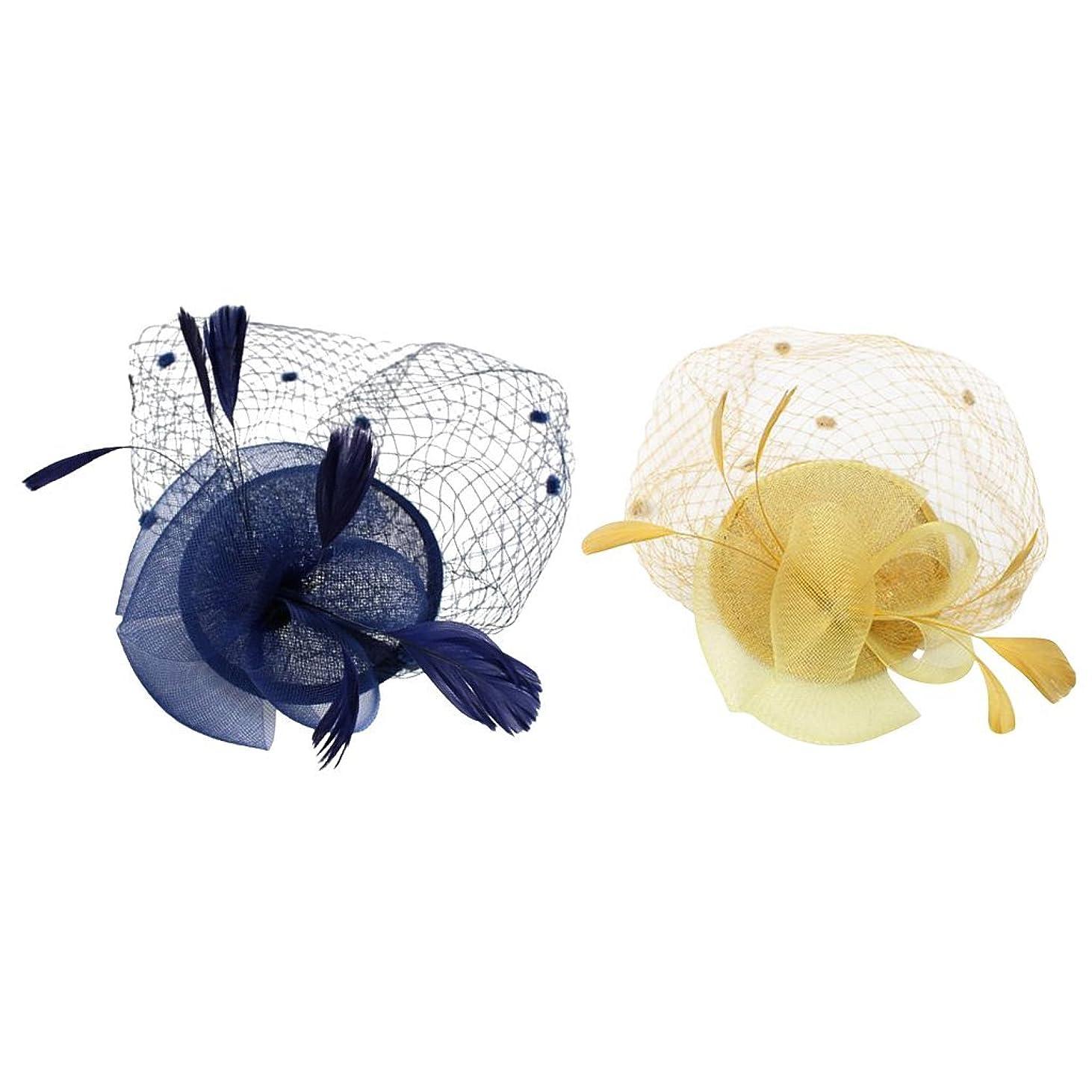 王子ウナギ極貧LUOSAI ヴィンテージブルー&イエローフェザー魅惑的な帽子クリップ20代女性ヘアアクセサリー2パック