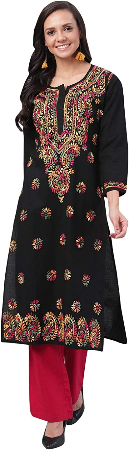Ada Animer and price revision Handicraft Chikan Womens Straight Special price for a limited time Kurta Kurti A188048 Cotton