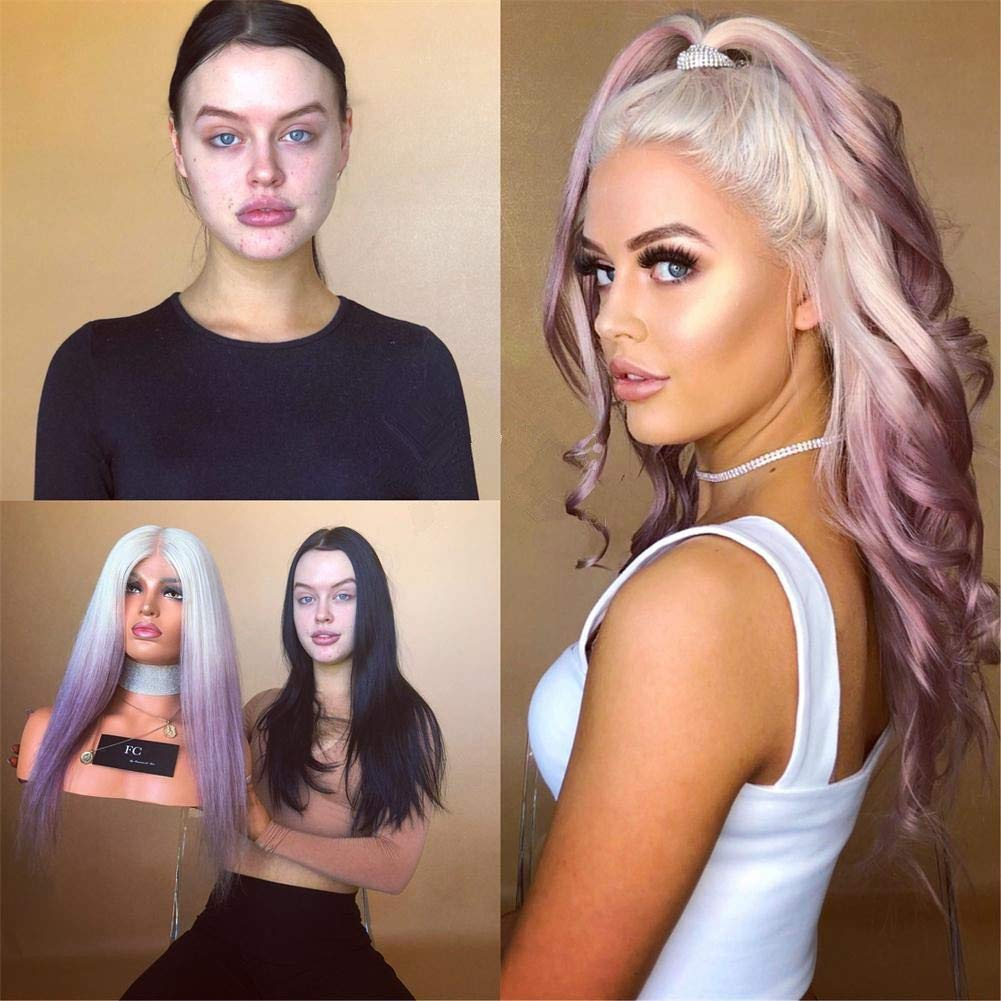 KRN Hair 8A Virgin Lace Front White In stock Purple online shop Wigs Ombre to Co
