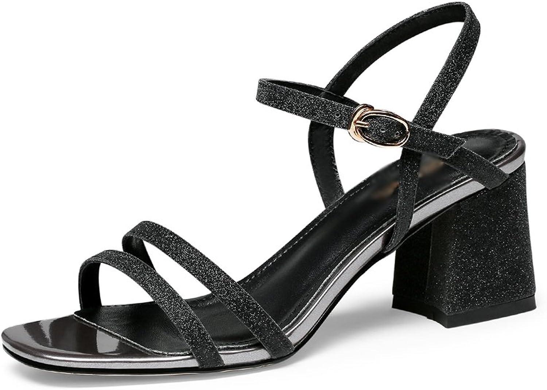 Sandalen GYHDDP Frauen Damen Low Mid Heel Sandaletten \ Open-Toe hohlen Riemchensandalen \ Sommermode (Farbe   A, gre   38)