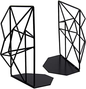 DR.DUDU Decorative Metal Bookend, Black Non Skid Book End for Home Office Decorate No Scratch for Shelves and Furniture