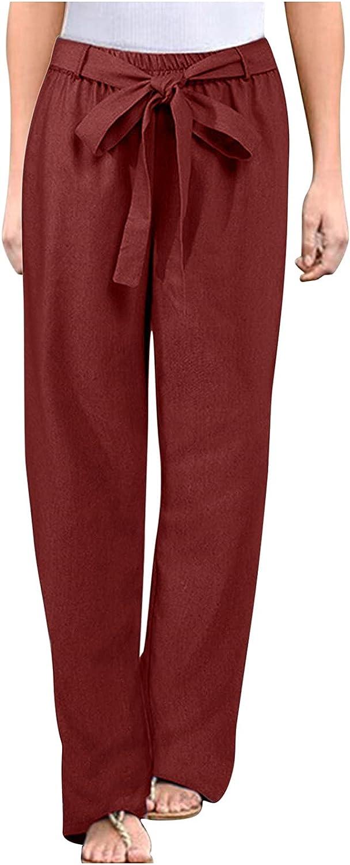 MASZONE Pants for Women, Summer Cotton Linen Wide Leg Trousers Casual Plus Size Drawstring Pants Sweatpants with Pocket