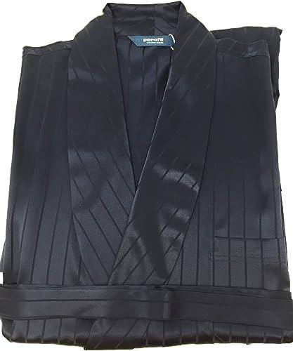 PEROFIL Robe de Chambre pour Homme Col chale en Pure Soie 100% Art. Brindisi VAR. Bleu Taille 56   XXL