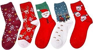 Scrox 5 Pares Calcetines Mujer Invierno Socks Navidad Unisex Casual Caliente Piso Calcetines Espesar Algodón Modernos Originales Caja de Regalo