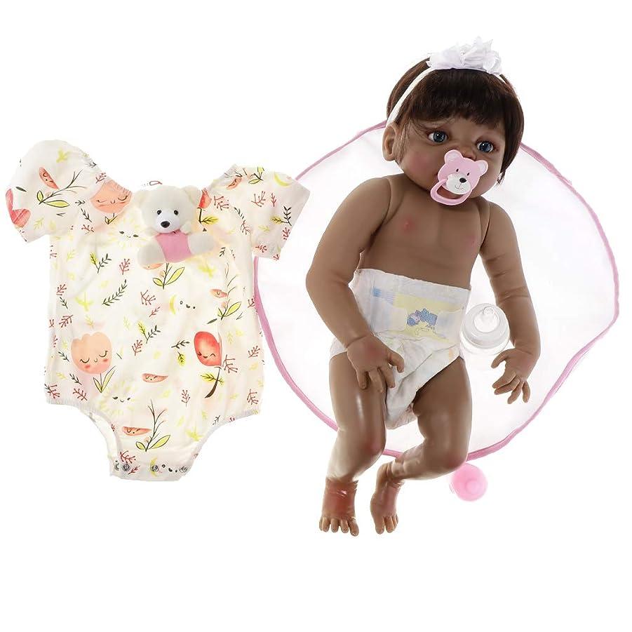 糸債権者受信機ベビー人形 赤ちゃん 22インチ 女の子 リボーンベビードール 赤ちゃんお世話の練習対象 おもちゃ - 茶色の目