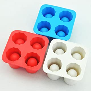 BESTonZON Ice Cube Trays Silicone Mold ice Shot Glass Mold Reusable (Red)