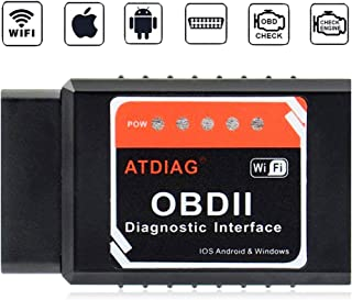 ATDIAG OBD2 Scanner Bluetooth,Car Code Reader OBDII Scan Tool for Android Device & iOS,Engine Fault Code Reader Diagnostic Scan Tool,3rd Party app OBD Fusion Torque