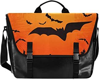 Bat Forest Halloween grande Flapover Messenger Bag Unisex Casual Bolso Crossbody Bolso de lona para ordenador portátil bol...