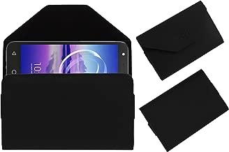 Acm Flip Flap Pouch Case Compatible with Alcatel U5 Hd Mobile Leather Cover Black