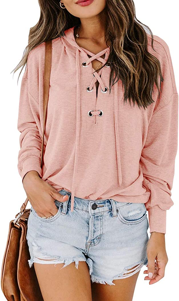Yuccalley Women's Lace Up V Neck Hoodies Criss Cross Hooded Sweatshirts Casual Long Sleeve Tops Shirts