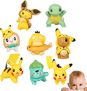 Yisscen 8 pièces Jouet de Décoration de Gâteau, Pokemon Gâteau Décoration Mini Figurine Enfants Postuler à Garçon Fille La...