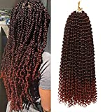 7 Packs Passion Twist Hair 18Inch Water Wave Crochet Hair for Passion Twist Crochet Braiding Hair Long Bohemian Hair Braiding Passion Twist Braids Synthetic Hair Extensions (22Strands/Pack, 1B/350)