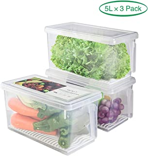 Fridge Storage Containers Produce Saver - 5L x 3 SILIVO Stackable Refrigerator Organizer Keeper with Removable Drain Tray To Keep Fresh for Produce, Fruits, Vegetables, Meat and Fish