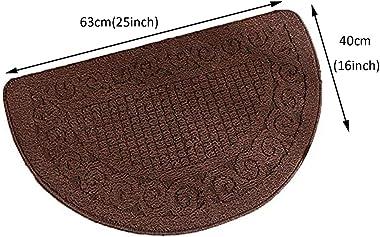 Half Round Door Mat, Non-Slip Dirt Trapper Original Durable Entrance Rug Washable Heavy Duty Absorbs Mud Multi-Purpose Welcom