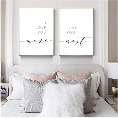 I Love You More I Love You Most Bedroom Wall Decor Romantic Quote Print  Above Bed Couples Quotes Poster Art Canvas Painting/15x15cmx15Pcs-No Frame