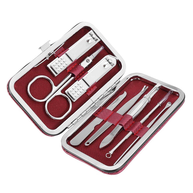 であるトラフィック山マニキュア用具 1つの釘 キットに付き8つ、マニキュアのための8 PCのステンレス鋼用具 (2#)