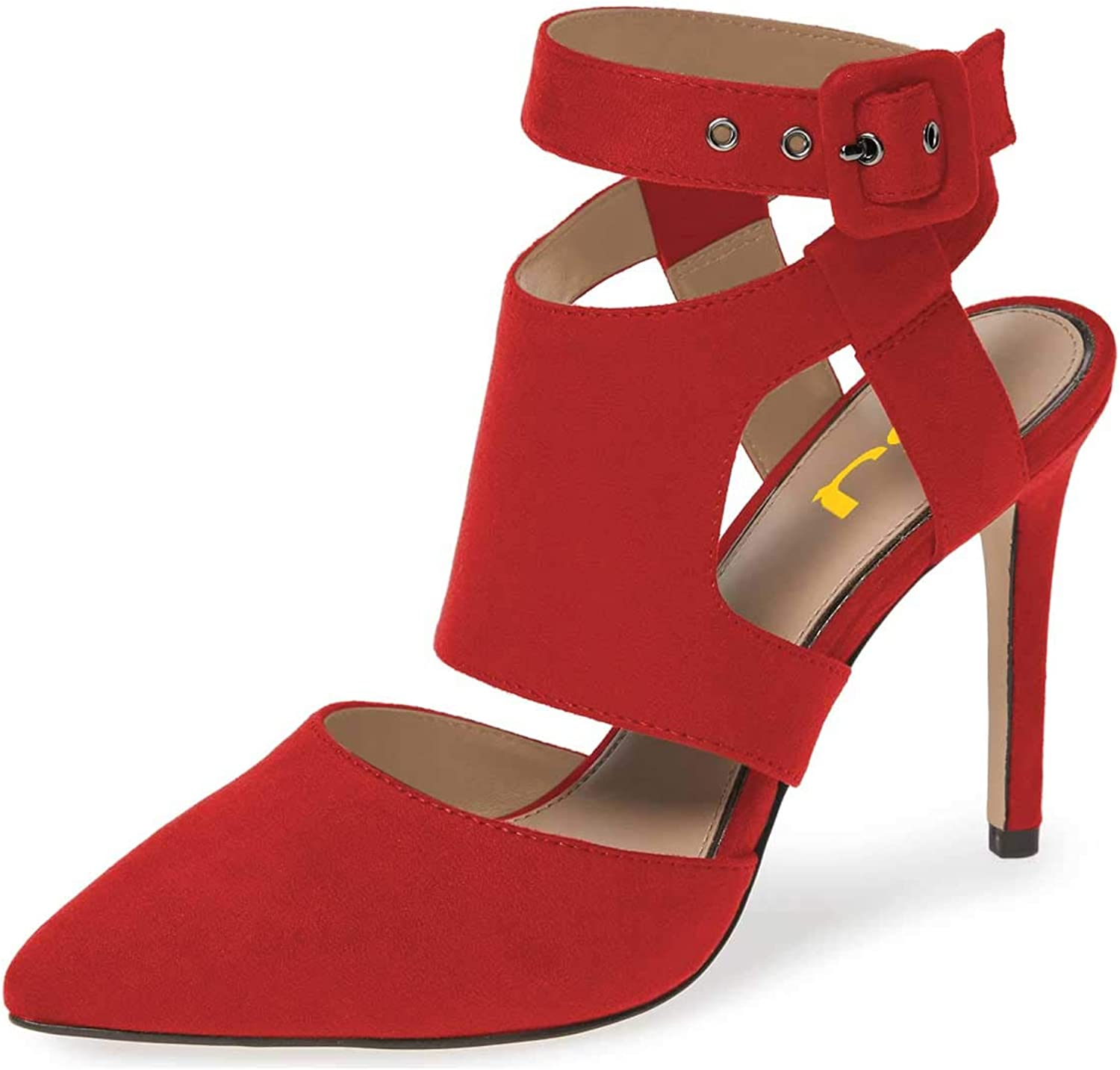 FSJ Women Strappy Buckled Strap Slingback Pumps High Heels Sexy Sandals Pointy Toe shoes Size 4-15 US