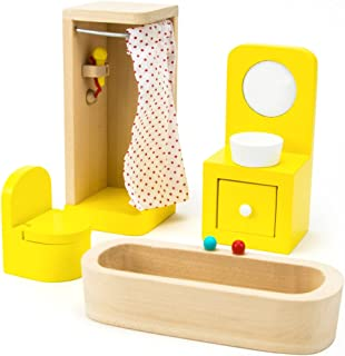 Imagination Generation Wooden Wonders Country Bathroom Set, Colorful Dollhouse Furniture (4pcs)