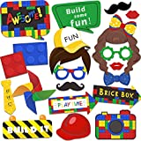 24 Sets Building Blocks Photo Booth Props Kit Toy Bricks Camera Props Kit for Kids and Adults Building Blocks Party Supplies