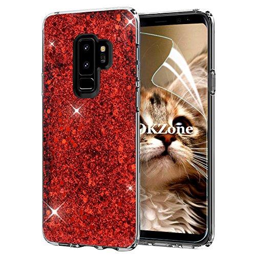 OKZone Coque Samsung Galaxy S9 Plus, Mince Étui en Silicone Souple Paillette Strass Brillante Bling Bling Glitter de, Flexible Plein-Corps TPU de Protection pour Samsung Galaxy S9 Plus (Rouge)