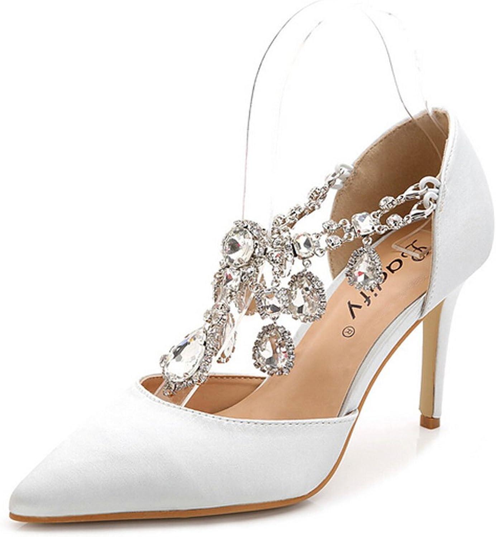 San hojas Pointed Toe Rhinestone Wedding shoes High Heels Plus Size 10 11 12 White