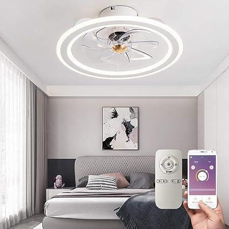 Modern Indoor Flush Mount Ceiling Fan with Lights, Remote & APP Control Low Profile Bladeless Ceiling Fans for Kids Room/ Bedroom/ Living Room, Matte White