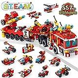 LUKAT Feuerwehrauto Bausteine Spielzeug ab 6 7 8 9 10+ Jahre Jungen, 557 PCS Konstruktionsspielzeug 25-in-1 STEM Gebäud Lernspielzeug Bauspielzeug Baukasten Pädagogisches,Geschenk Spielzeug für Kinder
