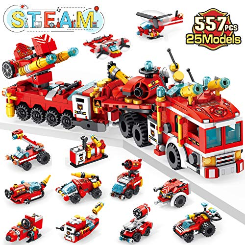 LUKAT STEM Building Toys for Kids, 557 Pcs Fire Trucks Toys for 6 Year Old Boys, 25-in-1 Engineering Building Blocks Construction Vehicles Kit, Educational Toys Gift for Age 6 7 8 9 10 + Year Old Kids