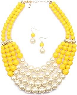 Shineland Handmade Multilayer Faux Pearl Bead Cluster Collar Bib Choker Jewelry
