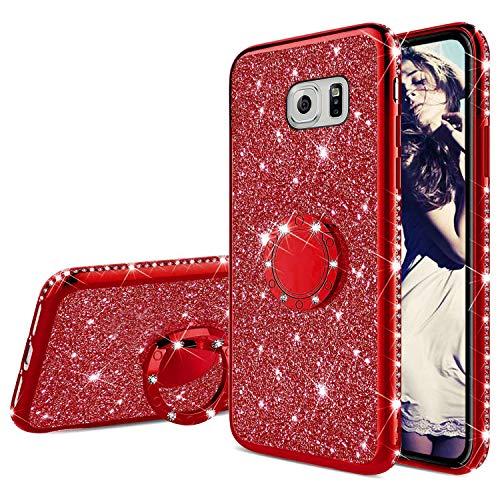 Misstars Glitzer Hülle für Galaxy S6 Edge Rot, Bling Strass Diamant Weiche TPU Silikon Handyhülle Anti-Rutsch Kratzfest Schutzhülle mit 360 Grad Ring Ständer für Samsung Galaxy S6 Edge