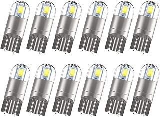 [2019 UPGRADED]194 LED Bulbs 168 T10 LED Bulb W5W LED Bulb Extremely Bright 3030 Chipset 194 168 T10 2825 W5W LED Bulb for License Plate Light Turn Light Signal Light Trunk Lamp-White (12Pcs/pack)