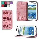 COOVY® Custodia per Samsung Galaxy S3 GT-i9300 GT-i9305 Neo GT-i9301 Portafoglio Scomparti per Carte, Chiusura Magnetica, Basamento, Protettiva per Schermo   Smile   Colore Rosa Chiaro