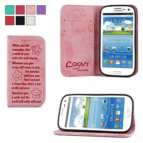 COOVY Custodia per Samsung Galaxy S3 GT-i9300 GT-i9305 Neo GT-i9301 Portafoglio Scomparti per Carte, Chiusura Magnetica, Basamento, Protettiva per Schermo | Smile | Colore Rosa Chiaro
