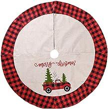 Christmas Tree Skirt Xmas Tree Skirt Christmas Tree Mat Car Pattern Christmas Home Decorations Seasonal Décor (Color : Red...