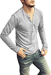 Henley Shirts for Men Vintage Half Button Up Tops Solid Long Sleeve Round Neck Casual Fashion Pullover T-Shirts