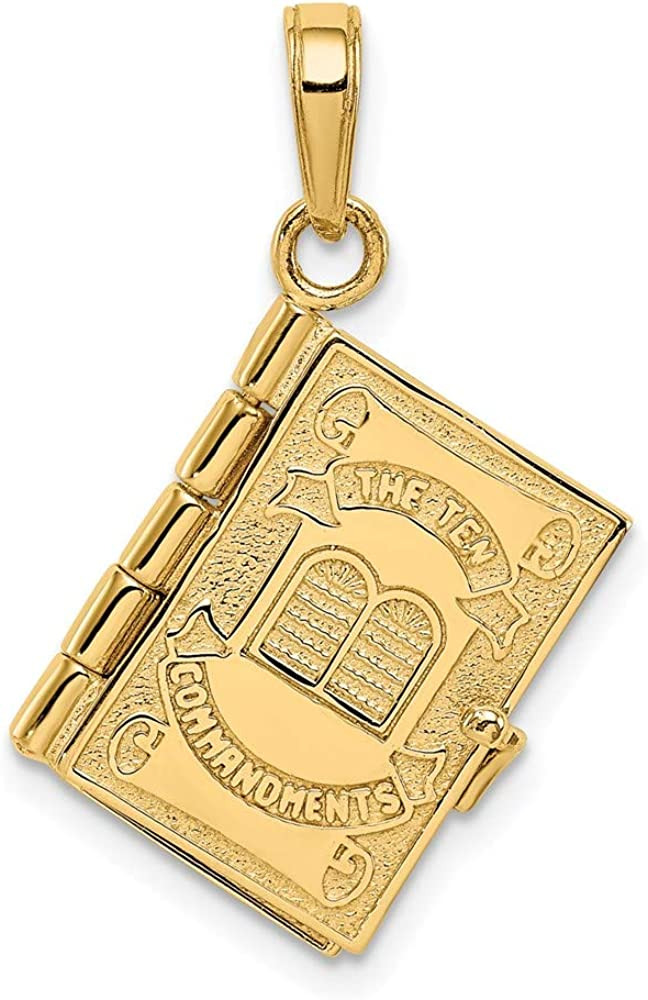 14k Yellow Gold 3d Ten Commandments Bible Pendant Charm Necklace Religious Fine Jewelry For Women Gifts For Her