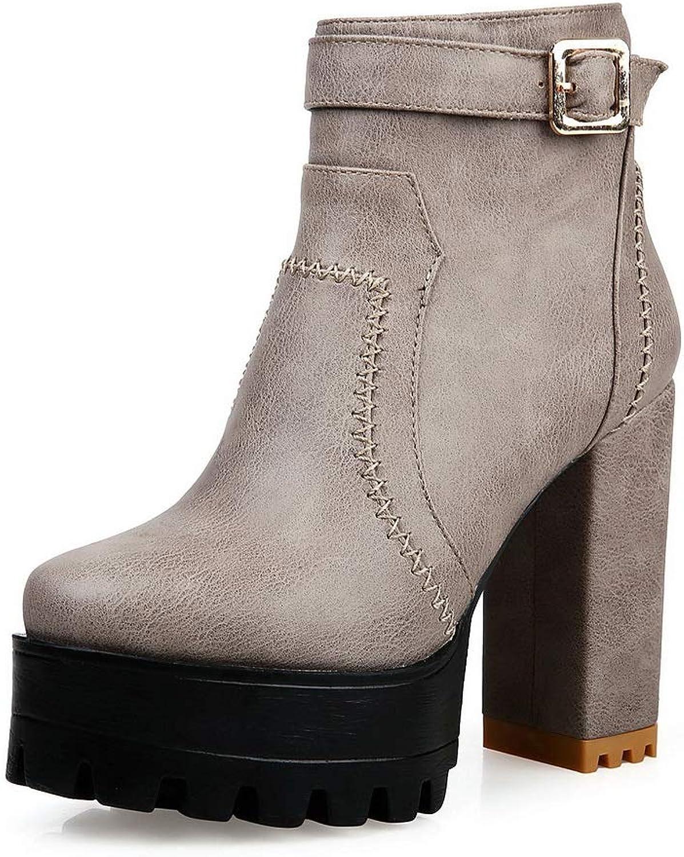 BalaMasa Womens Chunky Heels Metal Buckles Platform Urethane Boots ABL11944