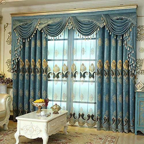 KELE Caterpillar Stickerei Hohe schattierung Vorhänge, Fenster Vorhang Vorhänge Schlafzimmer Wohnzimmer Vom Boden bis zur Decke reichenden Fenster Tülle verdunkelung Vorhang-A W:350XH:270cm