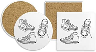 Hand Painted White Canvas Shoes Coaster Cup Mug Holder Absorbent Stone Cork Base Sets