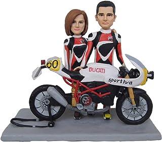 ooak moto de arcilla polimérica Aniversario de boda decoración de la torta decoración de Harley Davidson moto personalizad...