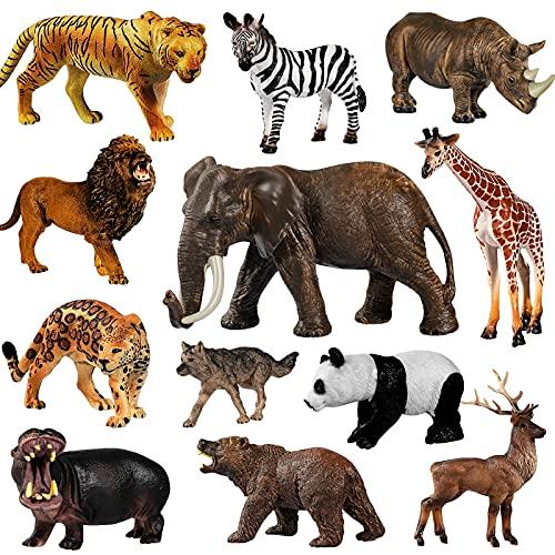 Max Fun 12pcs Giant Jungle Animal Toys, Giant Realistic Jungle Animal...