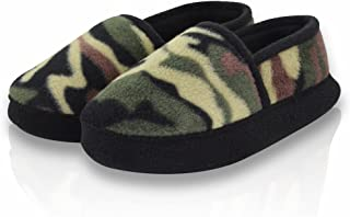 LA PLAGE Boy/Little Kid Winter Warm Cozy Camouflage Comfy Plush Indoor Slip-on Slippers with Hard Sole