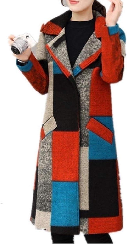 Cheelot Womens colortone Wrap Jacket Coat Check Plaid Stylish Pea Coat