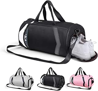 LBLA Small Gym Bag with Shoes Compartment for Men Women, Waterproof Sport Bag Lightweight Travel Weekender Bag(Black)