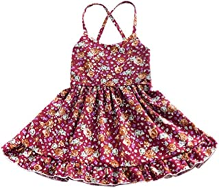 Tonsee ベビードレス 女の子 ワンピース 花柄 プリンセスドレス バックレス 赤ちゃん服 パーティー 結婚式 80CM-100CM