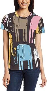 XiangHeFu T-shirt voor vrouwen meisjes abstracte olifant aangepaste korte mouw