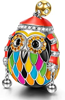 NINAQUEEN Christmas Charms Gifts Skiing Owl 925 Sterling Silver Multicolor Enamel Animal Beads Charms for Bracelets, Ideal Charm Gifts for Her